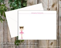 Ballerina and fairy thank you note cards for the little girl in your life! These are sweet and with so many to choose from, personalization is easy! This listing includes flat printed cards with envelopes in the quantity you select at checkout. --> flat cards 4.25 x 5.5 • white envelopes • printed on 80# white cover cardstock  We offer this as a printable or digital file! See here: https://www.etsy.com/listing/205916029/personalized-stationary-set-for-girls?ref=shop_home_active_3  ♥ Special…