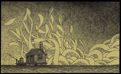 Edward Gorey is one of my favorite artists. What if he had illustrated Lovecraft's stories or created artwork with Lovecraftian themes? The art of John Kenn Mortensen might be the result. Arte Post It, Post It Art, Edward Gorey, Illustrations, Illustration Art, Don Kenn, Monster Drawing, Out Of The Dark, Drawing Wallpaper