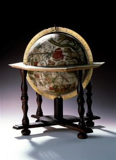 It´s a Celestial Globe made by the world famous globe maker: Matthew Seutter. It really puts the world in perspective. Most of my travels take me between Britain and France but I hope to explore more of it someday. Vintage Globe, Vintage Maps, Antique Maps, Globes Terrestres, World Globes, Dresden, Rex Stout, Map Compass, Celestial Sphere