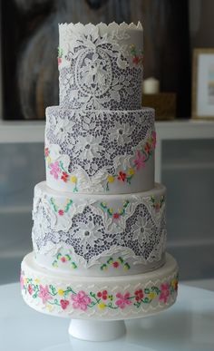 Cake inspired by Vintage Lace and Embroidery by Custom Cakes by Albena www.albenacakes.com www.facebook.com/albena.cakes