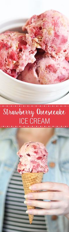 The PERFECT summer treat! This literally tastes like you took the best slice of strawberry cheesecake and turned it into ice cream! Cheesecake Ice Cream, Ice Cream Desserts, Köstliche Desserts, Strawberry Cheesecake, Strawberry Recipes, Frozen Desserts, Dessert Recipes, Easy Ice Cream Recipe, Recipes