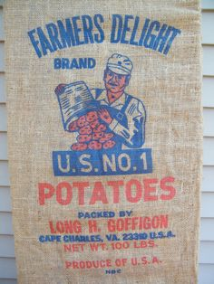 Burlap Potato Bag / Number One / Farmer / Farm by assemblage333, $15.00