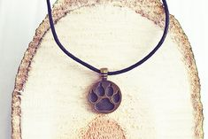 Bronze Paw Necklace | Paw Print Jewelry | Cord Necklace | Necklace For Men | Memorial Jewelry Simple Necklace, Men Necklace, Pendant Necklace, Be Your Own Kind Of Beautiful, Memorial Jewelry, Dog Lover Gifts, Handmade Necklaces, Cord, Bronze
