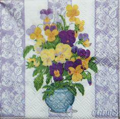 Купить салфетки декупаж узор цветы анютины глазки ажур орнамент - салфетка декупаж