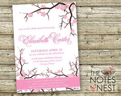 Cherry Blossom Baby Shower Invitation or Bridal by TheNotesNest