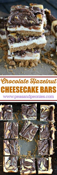 Chocolate Hazelnut Cheesecake Bars that are incredibly easy to make and a delight to eat with a honey graham crust and a hazelnut chocolate filling.