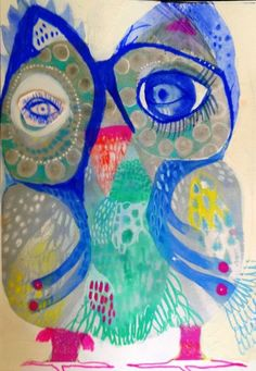 Owl art by Jessie Breakwell Gallery Owl Artwork, Naive Art, Art For Art Sake, Cute Owl, Collage Art, Art Lessons, Bunt, Art For Kids, Folk Art