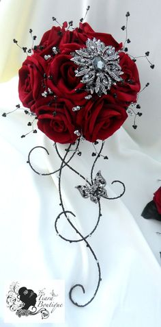 Stunning brooch and artificial flower bridal by TiaraBoutique, $309.59