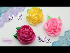 БРОШЬ РОЗА из лент своими руками / Ribbon Rose Brooch Tutorial / Djuce Julia - YouTube