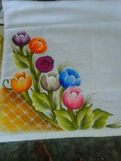 This Pin was discovered by Mac Acrylic Painting Flowers, Fabric Painting, Hand Embroidery, Embroidery Designs, Fabric Paint Designs, Fruit Picture, Diy Cushion, Painted Clothes, Designs To Draw