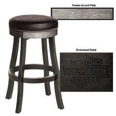 Harley-Davidson® Bar & Shield Flames Barstool w/ Vintage Black finish  http://www.bikerathome.com/index.php/harley-davidson-barstool-black.html