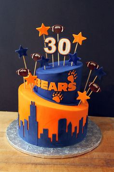 Prime 29 Best Chicago Bears Cakes Images Chicago Bears Cake Bear Personalised Birthday Cards Paralily Jamesorg