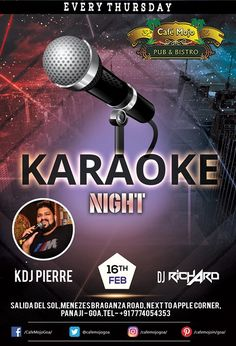 Sing along to your favorite tunes and bring out the rockstar in you, at our Karaoke Night this Thursday only at Café Mojo. #CafeMojo #Party #NightLife #Goa #NightClub #NightOut #Pub #BeerDrink #Music #Enjoy #Fun.