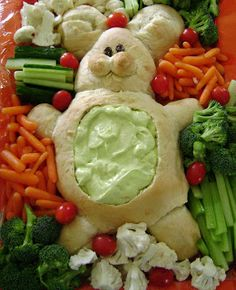 Bread dough shaped like a bunny, with the stomach hollowed out after it's baked, and filled with a dip for veggies. Cute idea for Easter. You could shape the bread dough lots of other ways, too, for different holidays. Dark rye or pumpernickel to make a black cat for Halloween, anyone?