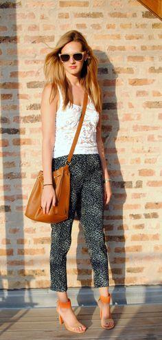 BB Dakota top (old), Forever 21 pants (similar), Nine West heels (c/o), Chloe bag, Super sunglasses