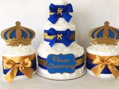 Prince Charming Diaper Cake in Royal Blue and Gold, Prince Theme Baby Shower Centerpiece