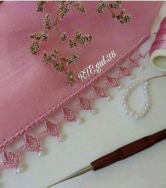 Crochet Borders, Crochet Lace, Crochet Flowers, Crochet Patterns, Hand Embroidery Videos, Embroidery Stitches, Embroidery Fashion, Beaded Embroidery, Saree Tassels Designs