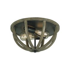 The weathered wood of this Allier flush-mount light fixture gives your room rustic charm. This dark wrought iron fixture boasts two exposed lights and looks great with your high ceiling and dark wood furniture.
