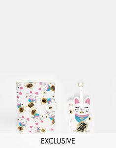 Image 1 ofSkinnydip Cat Passport Holder & Luggage Tag Gift Set - SAVE 18%