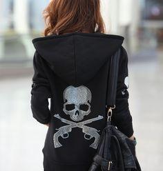 2013 Autumn European Punk Rock Style Cotton Hoodies Spliced Rhinestones Double Guns Skull Women's Diamond Sweatshirt Coats