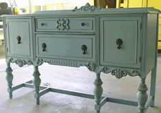 aqua painted furniture | Studio 1404 painted this beautiful buffet in the most gorgeous aqua ...
