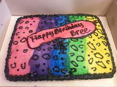 Leopard print rainbow cake