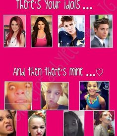 Haha I love this!!!  (Above) Ariana Grande, Selena Gomez, Justin Bieber & Zac Efron  (Below) Dance Moms Cast: Maddie Ziegler, Paige Hyland, Nia Frazier, brooke Hyland, Chloe Lukasiak, Mackenzie Ziegler   .... Sorry if i missed or typed wrong. The photos below were rather ..... difficult to assert who they were. :)