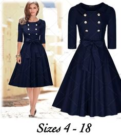 """This is a very cute 50's themed dress. Made from cotton, chinlon & spandex. The dress is a one piece, knee length and zips in the back.    Available in US sizes 4 - 18.    This item ships within seven (7) days to US addresses. 📦    The dress has the following measurements:    Small: US Size 4 - 6, 32.3"""" - 34.6"""" Bust, 28.8"""" Waist, 39.4"""" Total Length    Medium: US Size 8, 34.3"""" - 36.6"""" Bust, 28.7"""" Waist, 40.2"""" Total Length    Large: US Size 10 - 12, 36.2"""" - 38.6"""" Bust, 30.7"""" Waist, 40.2""""…"""