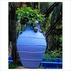 Large blue urn at Majorelle Garden in Marrakech, Morocco