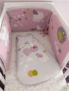 Tour de lit brodé bébé thème P'tit nid, Puériculture