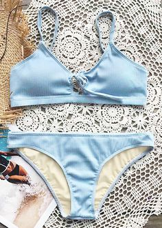 Live life on the beach~ Soft fabric and perfect support comes from Cupshe Fluffy Cloud Tie Bikini Set. Chic fresh color, hot girl! Shop now.