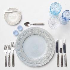 Dusty Blue Lace Chargers + White Lace Dinnerware + Pewter Flatware + Vintage Aqua/Light Blue/Coupe Trios + Delphite Blue Salt Cellars // Casa de Perrin Design Presentation