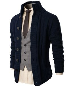 Men High Neck Twisted Knit Cardigan Sweater With Button Details Darkblue US Cable Knit Cardigan, Cable Knit Sweaters, Sweater Cardigan, Men Sweater, Long Cardigan, Moda Men, Sharp Dressed Man, Gentleman Style, Pulls