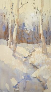 Late Winter,Chadds Ford by Sarah Yeoman Watercolor ~ 9x16 x