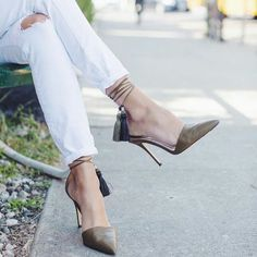 Olive green heels with tassles