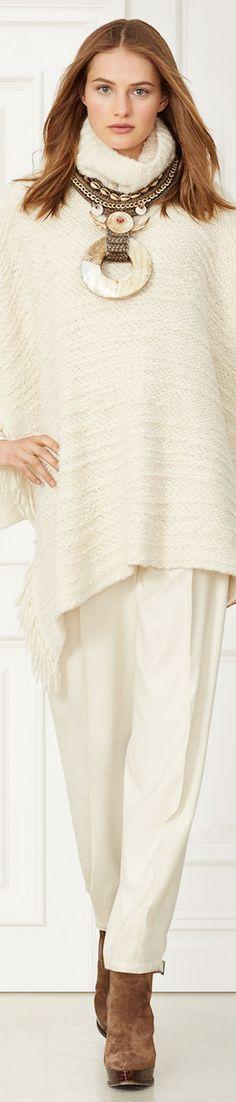 RALPH LAUREN BOUCLÉ TURTLENECK PONCHO women fashion outfit clothing style apparel @roressclothes closet ideas