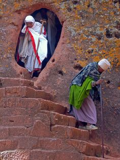 Leaving the Rock Church . Lalibela Ethiopia
