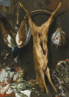 Studio of Frans Snyders Still Life of Artichokes, Grapes and a Melon In a Basket, a Hung Peacock,.jpg