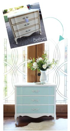 French Provincial night Table in Behr's Sunken Pool and Ultra Pure White from confessionsofaserialdiyer.com
