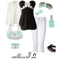 Black with sea green, created by callico32 on Polyvore