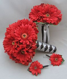 Gerber Daisy Wedding Flower Package Bridal Bouquet Maid of Honor Bouquet Boutonnieres Real Touch Red Gerber Daisies Choose Your Color