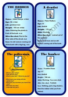 It´s a game to practice past simple and continuous. Ss have role cards and they are witnesses of a robbery. There´s a policeman who asks questions and has to find out who the robber is. (5 pages - contains eight role cards, card backs, description, and a large card which can be used as a flashcard when explaining the rules to Ss.)