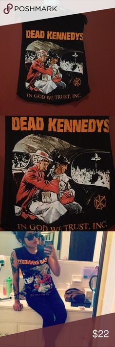 """""""Dead Kennedys"""" muscle tee This was one of my favorite DK logos and I received so many compliments on this shirt. This was originally a fitted tee, but I cut the sleeves and an inch from the bottom so it's a """"relaxed muscle shirt"""". It's in awesome condition nonetheless. Tops Muscle Tees"""