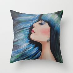 Blue Mermaid Dreams Colorful Figurative Contemporary Art Throw Pillow by WinchesterWendy - $20.00