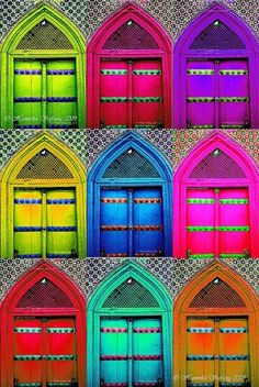 ⓐll the ℂolors of the ℛainbow / colorful doors Colors Of The World, All The Colors, Neon Colors, Rainbow Colors, Vibrant Colors, Taste The Rainbow, Over The Rainbow, Happy Colors, True Colors