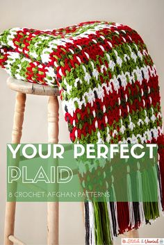 Your Perfect Plaid: 8 #Crochet Afghan Patterns via Stitch and Unwind