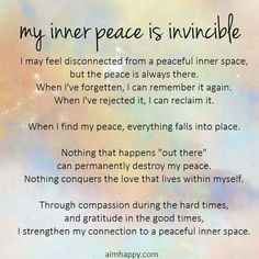 An empowering affirmation for inner peace inspiration affirm Positive Affirmations Quotes, Morning Affirmations, Affirmation Quotes, Positive Quotes, Inner Peace Quotes, Teresa, Attitude, Mind Body Soul, Positive Thoughts