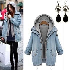 Sitengle Damen Jeansjacke Denim Winterjacke Blazer Langarmshirt 2 in 1 Kurzjacke Freizeit Blusen Oberteil Strickjacke Jäckchen Tops Mäntel Outwear – Styling Tipps