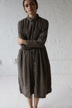 Ichi Linen Cotton Check Dress