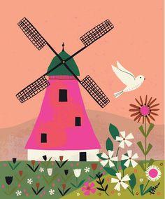 A closer look at my windmill illustration. Windmill Drawing, Windmill Art, Art Drawings For Kids, Drawing For Kids, Art For Kids, House Illustration, Landscape Illustration, Illustrations, Lilla Rogers